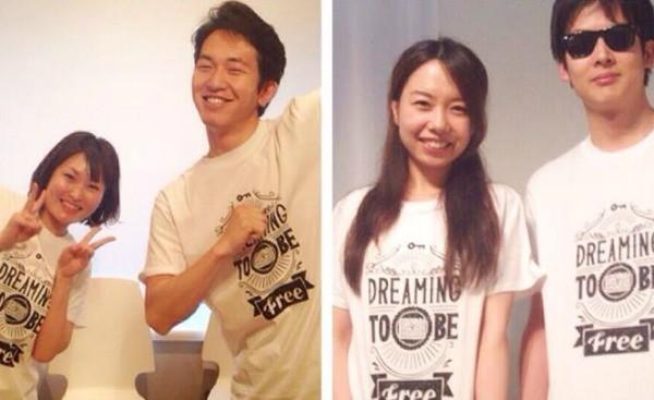 チャリティーTシャツを着た3keys事務局スタッフたち。右から2番目が森山誉恵代表