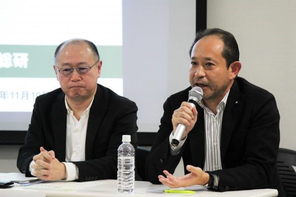 ギンザのサヱグサ・三枝社長(右)とラッシュジャパンの中多氏